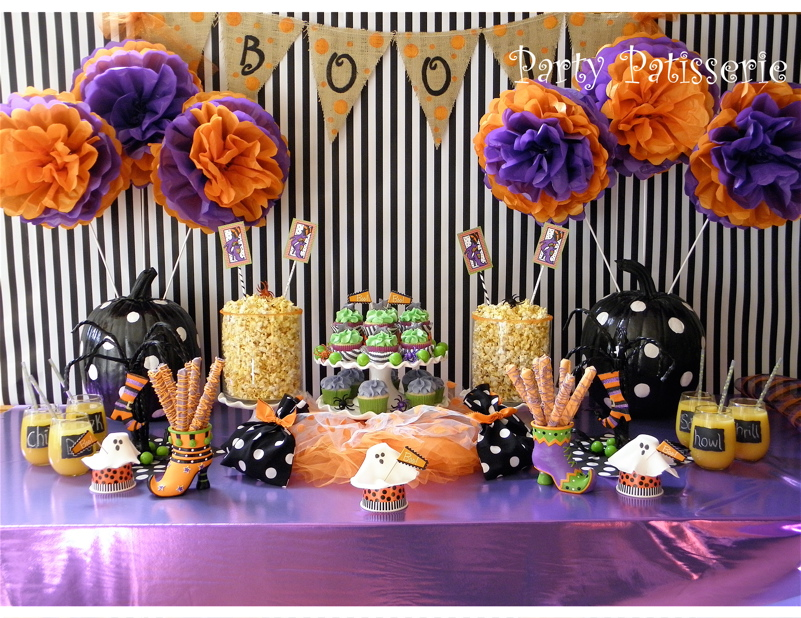 halloween theme party black white polka dot halloween party