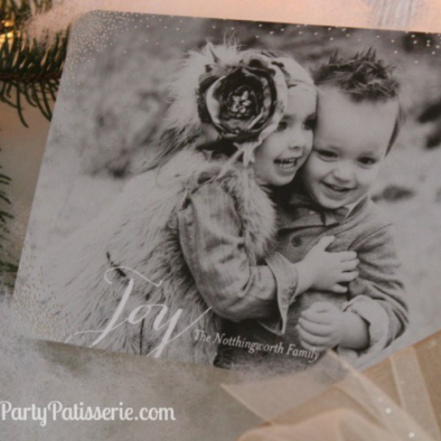 Isn't this @TinyPrints Christmas card just the prettiest? See how we featured it in our mantle display at PartyPatisserie.com.
