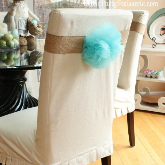 Decorating for Easter by making Bunny Tail Chair Wraps! Find out how to make them on PartyPatisserie.com. Have fun! #Easter #Decorating #DIY #Bunnies