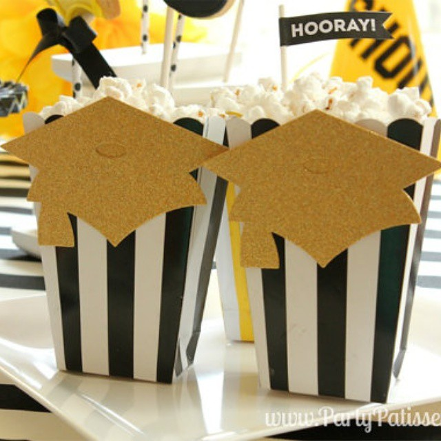 It's almost graduation season! These popcorn boxes are perfect for graduation parties. We can customize the colors for your school, too! Check them out at etsy.com/shop/partypatisserie #graduation #summer #summerparties