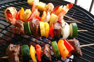 Kabobs on the grill for Labor Day