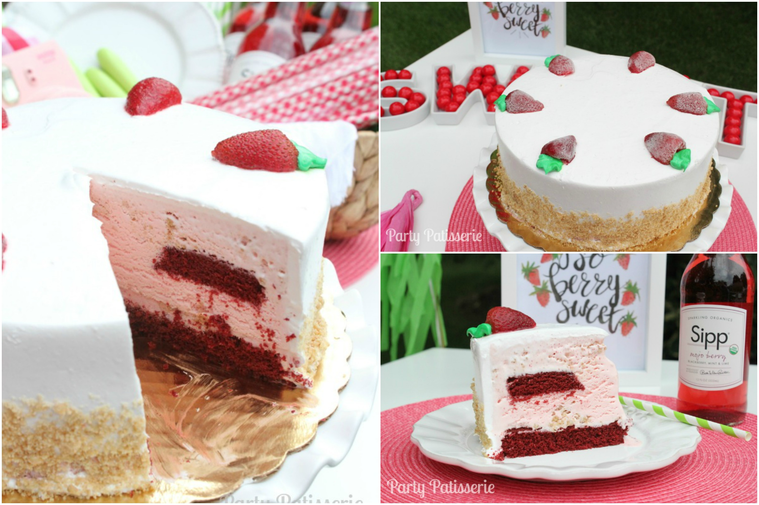 Strawberry red velvet ice cream cake